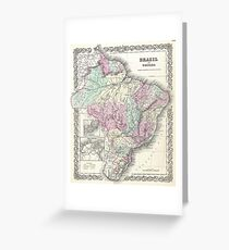 Vintage Map of Brazil (1855) Greeting Card