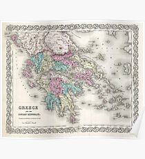 Vintage Map of Greece (1855)  Poster