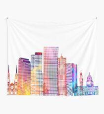 Denver landmarks watercolor poster Wall Tapestry