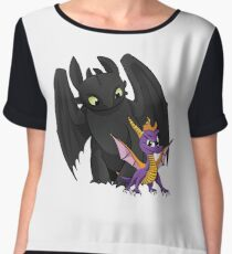 Spyro and Toothless Women's Chiffon Top