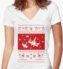 Nerd Pixel Christmas Women's Fitted V-Neck T-Shirt