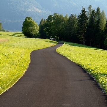 Curved road in the countryside. Mountain place. by acasali
