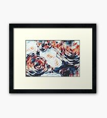 Roses print in retro drawing style watercolor digital Framed Print