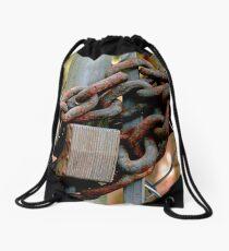 Rusty Lock and Chain Drawstring Bag