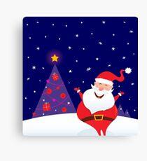 Winter night: Happy Santa with Christmas tree : Original edition 2016 Canvas Print