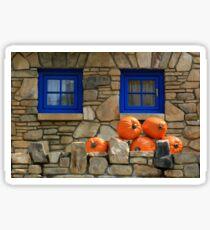Blue Windows and Pumpkins Sticker