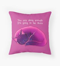 """You Are Doing Enough"" Cat Throw Pillow"