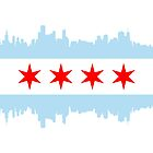 Chicago Skyline Flag by Korben-Dallas