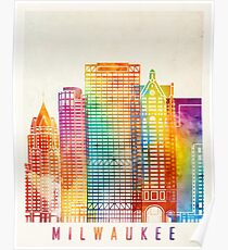Milwaukee landmarks watercolor poster Poster