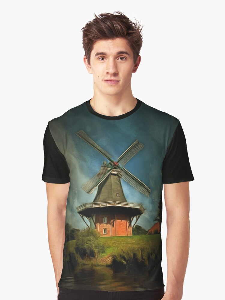 The Windmill at Greetsiel, Leybucht in East Frisia, Germany Graphic T-Shirt Front