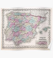 Vintage Map of Spain (1855)  Poster
