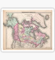 Vintage Map of Canada (1857)  Sticker