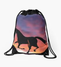 Horse silhouette galloping at sunrise or sunset Drawstring Bag