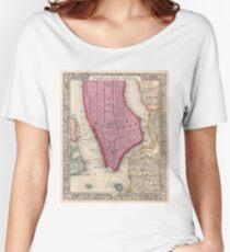 Camiseta ancha para mujer Vintage Map of Lower New York City (1860)