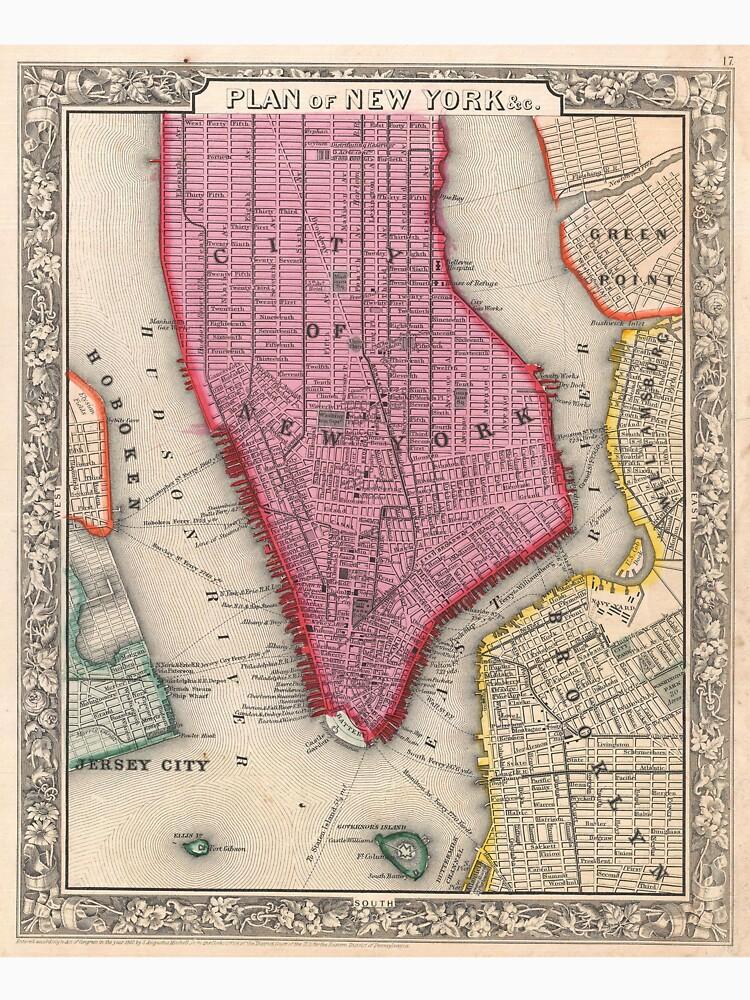 Vintage Map of Lower New York City (1860) de BravuraMedia