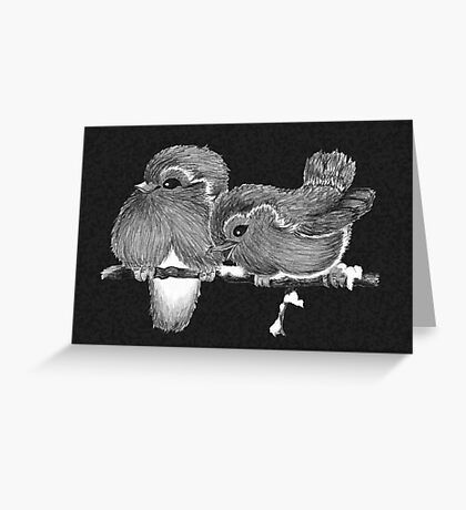 Feathered Friends with Charcoal Greeting Card