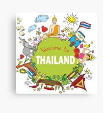 Welcome to Thailand . Set Thai elements. Canvas Print