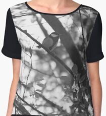 Blue tit in black and white Women's Chiffon Top