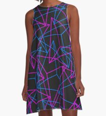 Abstract Geometric 3D Triangle Pattern in Blue / Pink A-Line Dress