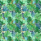 Beautiful pattern leaves monstera and frogs  by Tanor