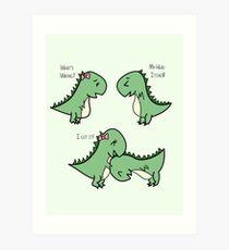 Itchy Head Dinos!  Art Print