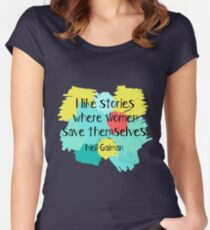 Neil Gaiman (feminist at heart) Women's Fitted Scoop T-Shirt