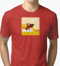 Happy brown dog travel in the car. VECTOR ILLUSTRATION. Tri-blend T-Shirt