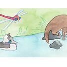Otter, Duck and Dragonfly by pokegirl93
