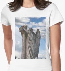 Angel statue embracing a cross  Womens Fitted T-Shirt