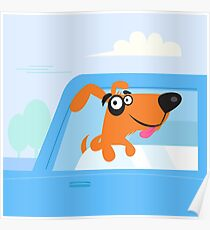Happy brown and black dog travelling in blue car Poster