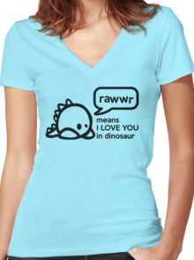 RAWWR - means I love you in dinosaur Women's Fitted V-Neck T-Shirt
