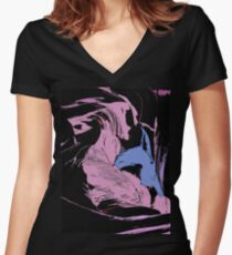 Blue Shark, at pink sea, abstract, cartoon artwork Women's Fitted V-Neck T-Shirt