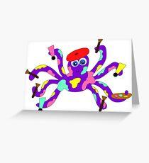 Rainbow Artist Octopus Greeting Card