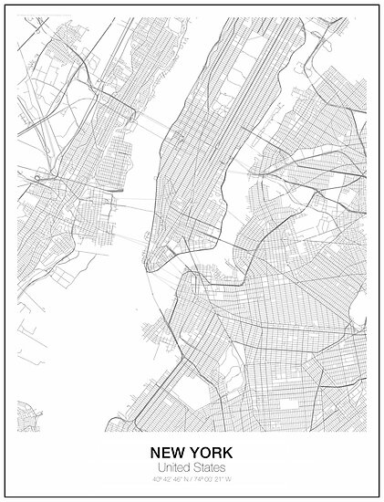 New York Minimalist Map Posters By Resfeber Redbubble