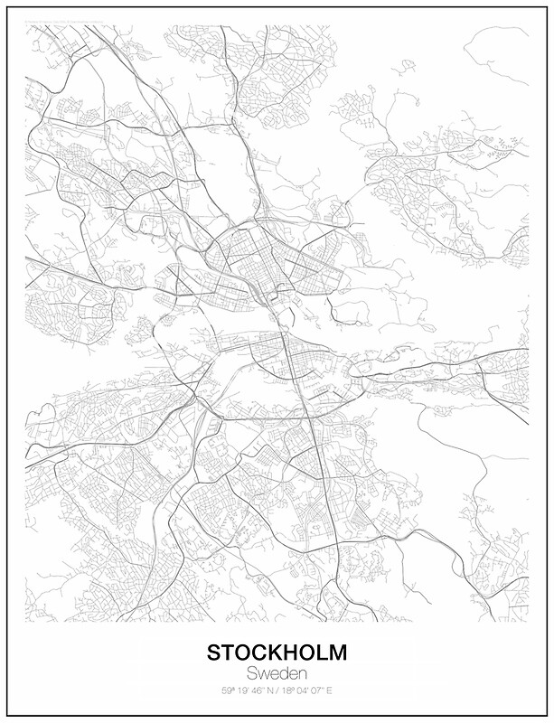 Stockholm Minimalist Map Art Prints by resfeber Redbubble