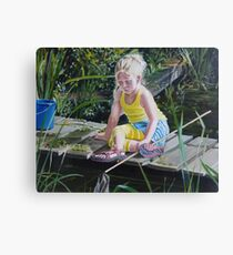 Kikkervisjes vangen - fishing for babyfrogs Canvas Print