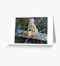 Kikkervisjes vangen - fishing for babyfrogs Greeting Card