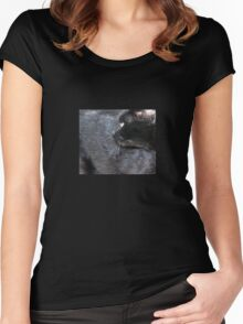 Black Cat Looking Back Women's Fitted Scoop T-Shirt