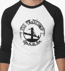 San Francisco - City By The Bay - Grunge Vintage Retro T-Shirt Men's Baseball ¾ T-Shirt