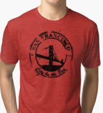 San Francisco - City By The Bay - Grunge Vintage Retro T-Shirt Tri-blend T-Shirt