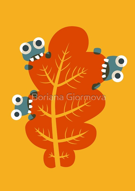 Funny illustration of three cute bugs who eat an orange autumn leaf