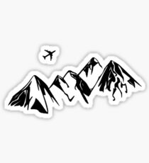 Badlands Mountains With Plane Sticker