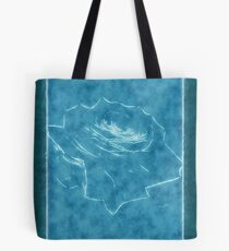 Pink Roses in Anzures 3 Outlined Blue Tote Bag