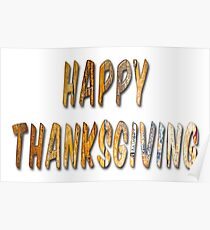 Happy Thanksgiving Distressed Wood Words Poster