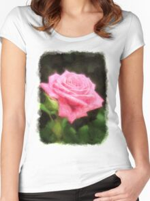 Pink Roses in Anzures 3 Vivid Oil Women's Fitted Scoop T-Shirt