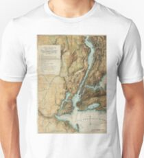 Vintage Map of New York City Harbor (1864)  Unisex T-Shirt