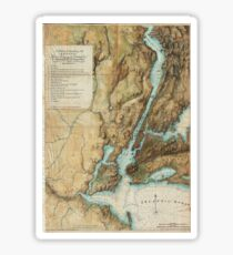 Vintage Map of New York City Harbor (1864)  Sticker