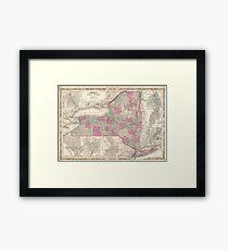 Vintage Map of New York (1864) Framed Print
