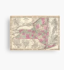 Vintage Map of New York (1864) Canvas Print