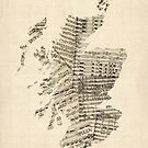 Old Sheet Music Map of Scotland by Michael Tompsett